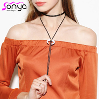 PU Plastic Material Chokers Necklaces for Women Rope Chain Black White Bohemian Style Necklaces C1283
