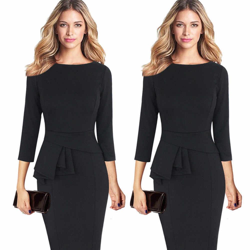 a047df2f4bf ... Для женщин Элегантный Бизнес наряд офисное платье жабо баски 3 4 платье  рукава работы Бизнес ...