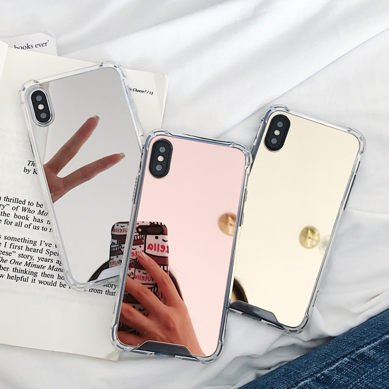 Mirror Phone <font><b>Case</b></font> For <font><b>iPhone</b></font> 7 8 6S 6 Plus X XR XS Max Cute Soft Shockproof Cover For Samsung Note 9 8 S8 S9 S10E Plus <font><b>Case</b></font> Caqa image
