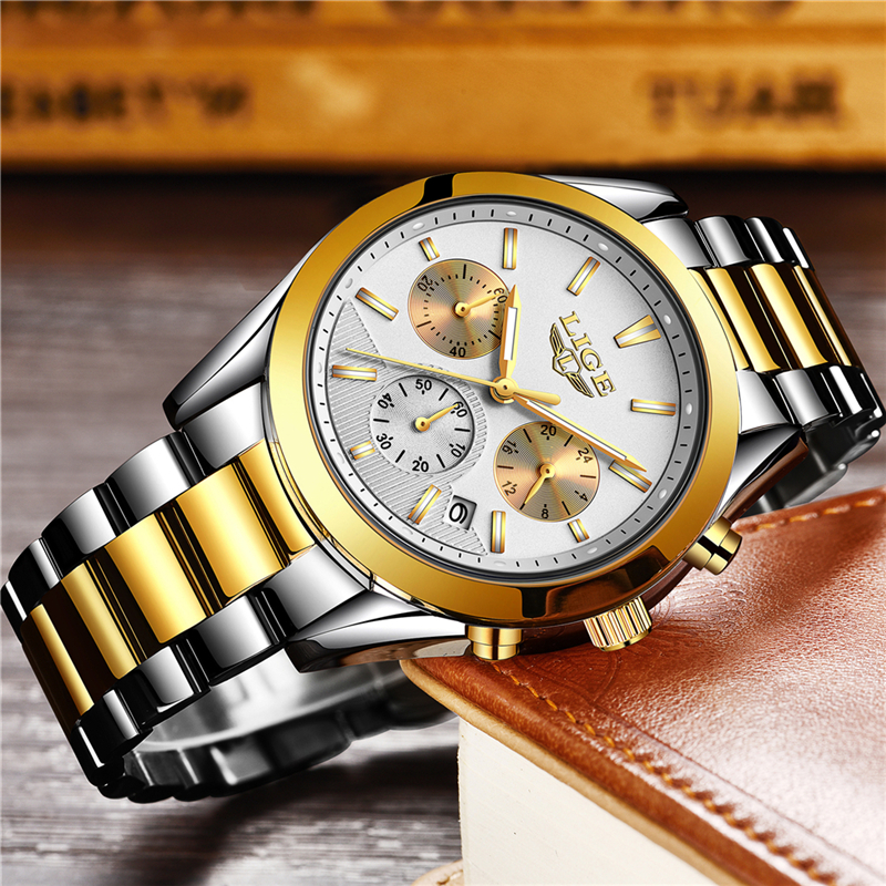 2018 Mens Watches Top Brand LIGE Luxury Fashion Gold Watch Men Full Steel Business Quartz Watch Waterproof Watches didun mens watches top brand luxury watches men steel quartz brand watches men business watch luminous wristwatch water resist