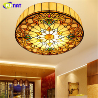FUMAT Tiffany Ceiling Lights Stained Glass European Baroque Classic Light for Living Room Home Decor LED Ceiling Lamps