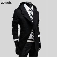 Fashion 2017 Aowofs gentleman Casual Men's windbreaker cotton casaco masculino trench double-breasted Slim Fit hoody dust coat