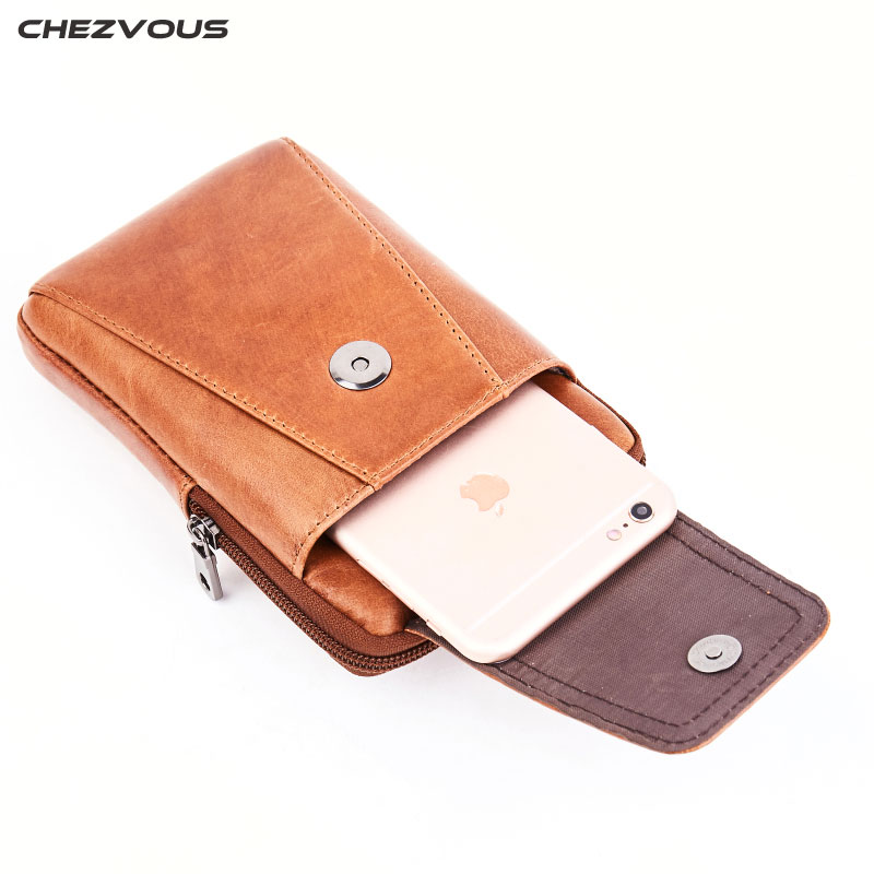 CHEZVOUS Mobile Phone Bag for iPhone 7 8 6 plus X Genuine Leather Phone Pouch for Samsung S8 S7 S6/S8 Plus Belt Pouch 6.0 inch