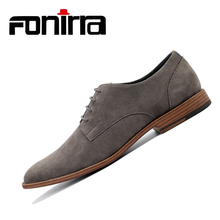 FONIRRA Fashion Men Suede Leather Casual Shoes Spring Flats Lace Up Male Oxfords Soft  Chaussure Homme 404