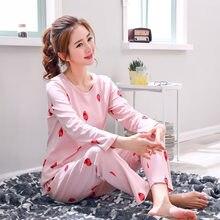 4d41f59cf5 Women Pajamas Sets Round Neck Cartoon Kawaii Sleepwear Nighty Female Casual Autumn  Winter Pijama Mujer Underwear