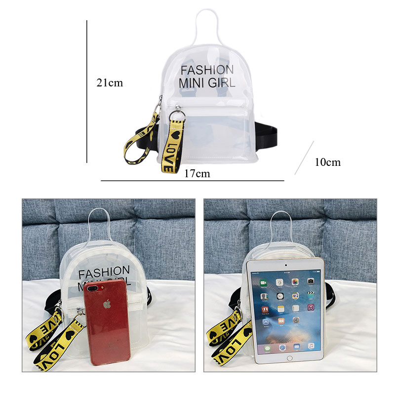 Mini Transparent Women Backpacks Clear PVC Lady Rucksack Teenager Girl School Bags Soft Female Casual Daypack Mochilas Mujer in Backpacks from Luggage Bags