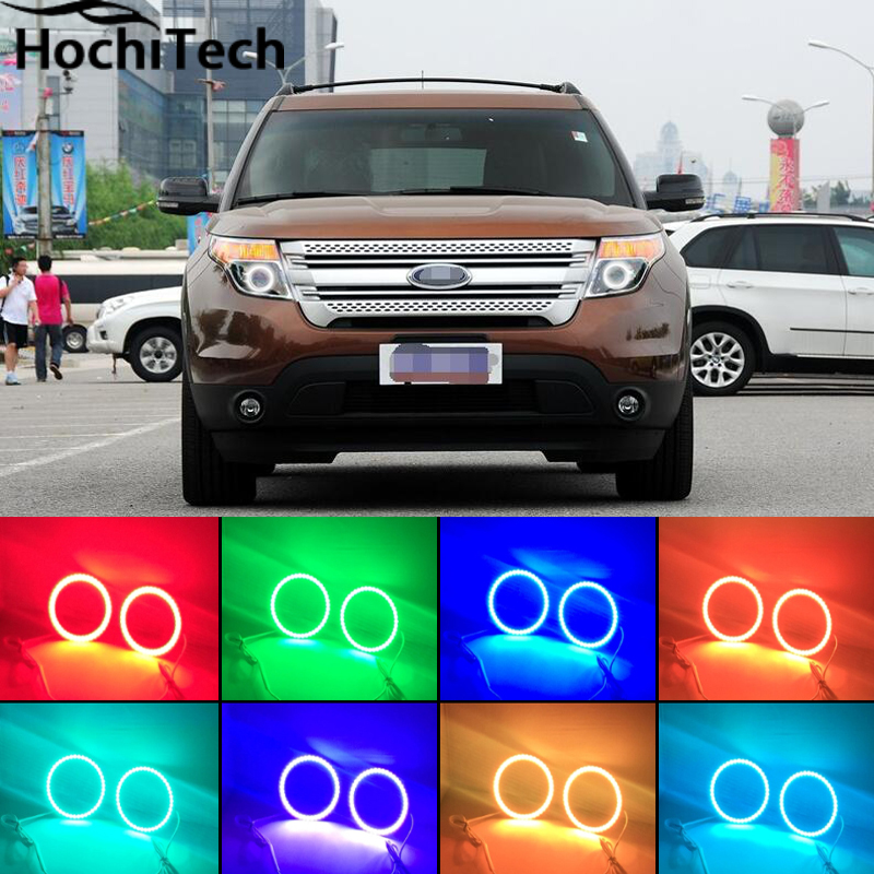 for Ford Explorer 2011 2012 2013 2014 2015 2016 RGB LED headlight rings halo angel demon eyes with remote controller