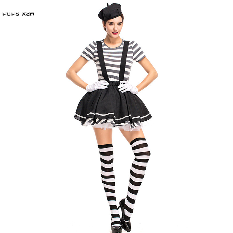 Women Acrobatic Circus Clown Cosplays Female Halloween Criminal prisoner Costumes Carnival Purim Nightclub Role play party dress Стёганое полотно