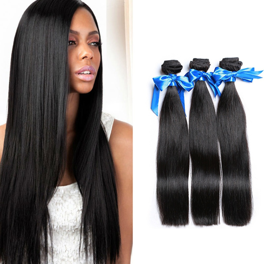 LINLIN Human Hair Silky straight Hair Weave Extension Hair 3 Bundles Hair Rollers wigs Can Dyed & Bleach burgundy clip in straight hair extension 3pcs