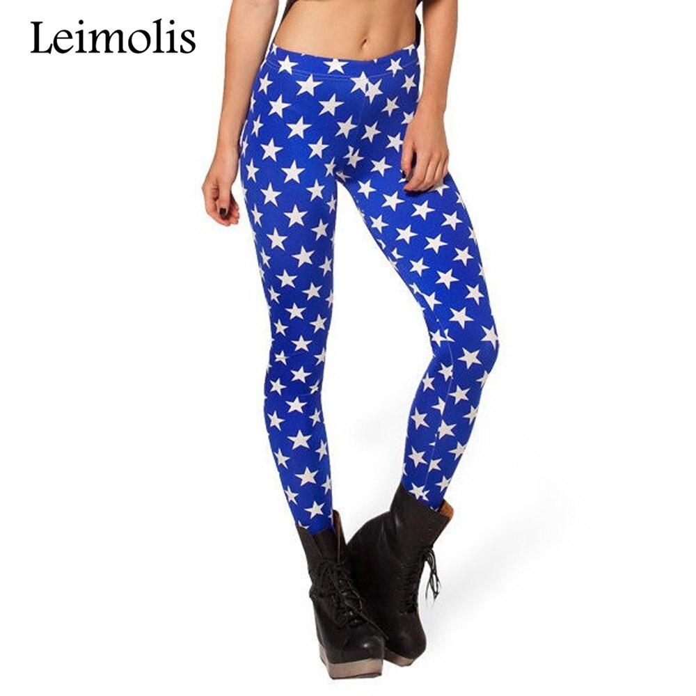 Leimolis 3D printed fitness push up workout   leggings   women gothic retro blue stars plus size High Waist punk rock pants