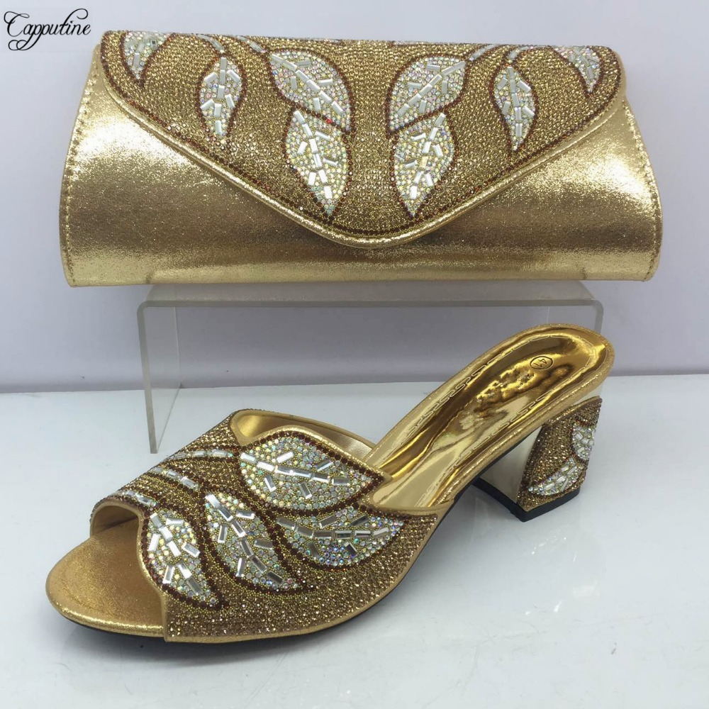 Capputine Latest Gold Color Matching Shoes And Bag Set African Matching Shoes and Bags For Party Nigerian Wedding Women S BL565C 2016 italian shoes with matching bags for party high quality african shoes and bags set for wedding