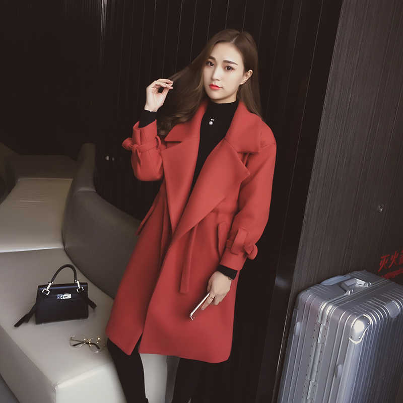 Black Orange Red Thick Winter Outwear With Belt Turn Down Collar Pockets Fashion Medium Long Solid Women Coat
