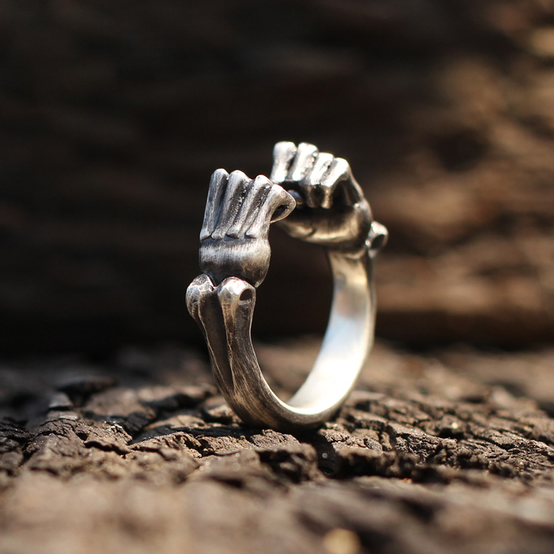 Surprise Her/His Fist Ring Symbol of Strength Rings 925 Silver Boxing Hand Punk Rock Jewelry for Women Men Valentine's Day Gift