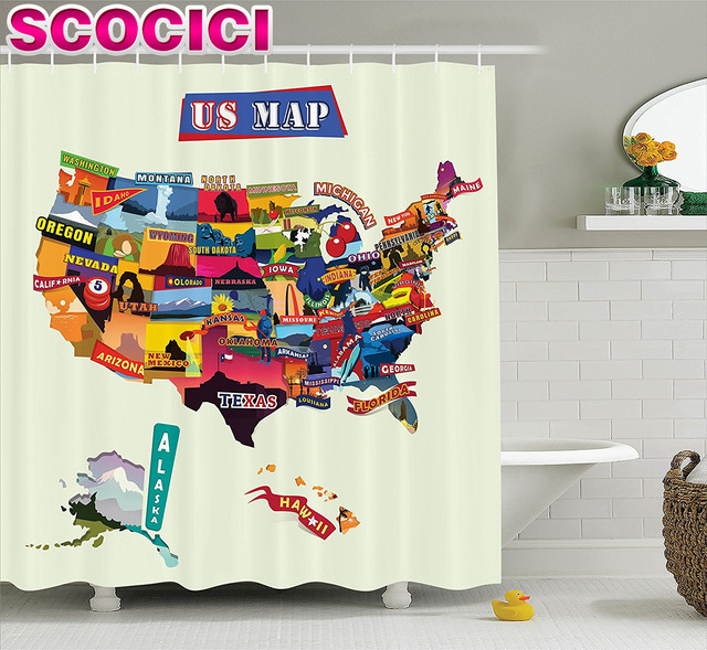 US Map Shower Curtain Set Wanderlust Decor Us Map Seashore - Us map with tourist attractions