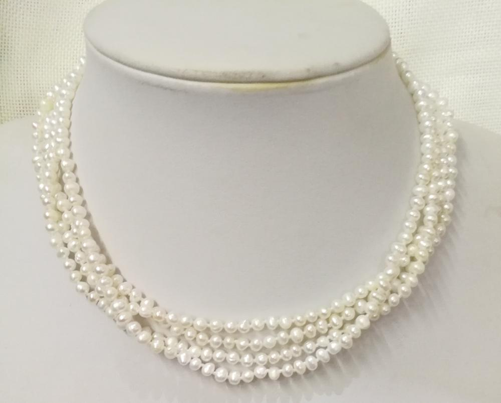 """4 rows 35-60cm 14-24"""" Woman Fashion Jewelry natural pearl 2-4mm white Necklace real freshwater pearl"""
