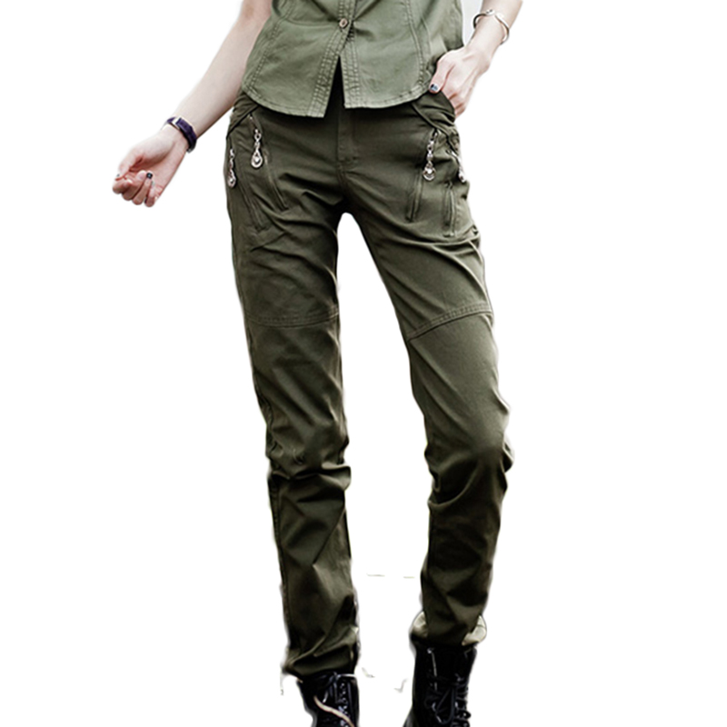 Girls Fashion Military Uniforms Army Green Long Pants Womens Summer Casual Plus Size Trousers Slim Straight