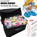 TOUCHNEW 80colors Alcohol Based Markers Set Twin Smooth Ink Sketch Marker Finecolour Dessin Anime Color Markers Drawing Pens