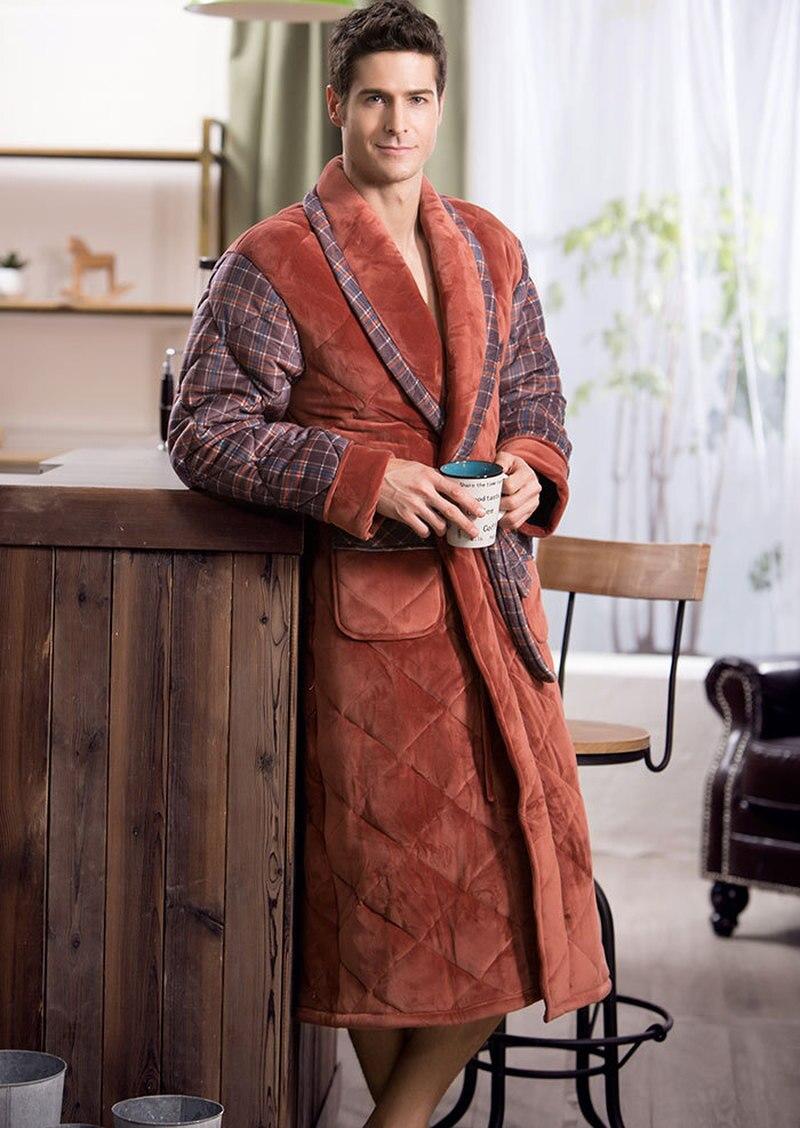 New Winter Bathrobe Male High-end British Casual Thickening Flannel Cotton Robe Men Home Wear Warm String Dressing Gown