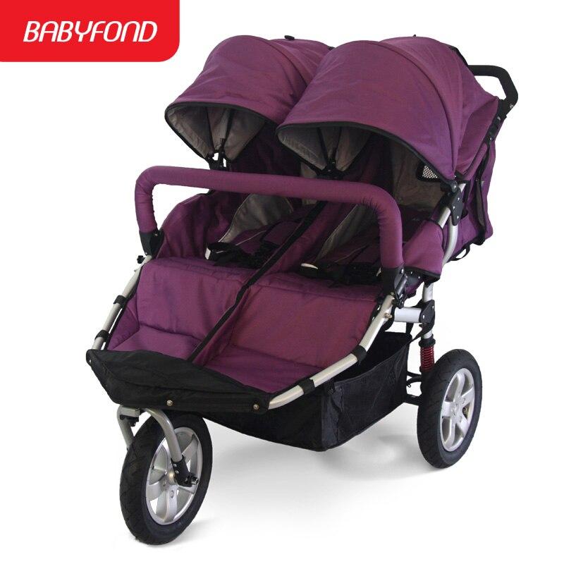 Offre spéciale Babyboom tout-terrain jumeaux bébé poussette choc roues pneumatiques double bébé poussette 3 roues bébé poussette cadeaux