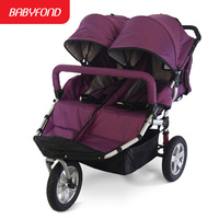 Special offer Babyboom off road twins baby stroller shock pneumatic wheels double baby stroller 3 wheels baby stroller gifts