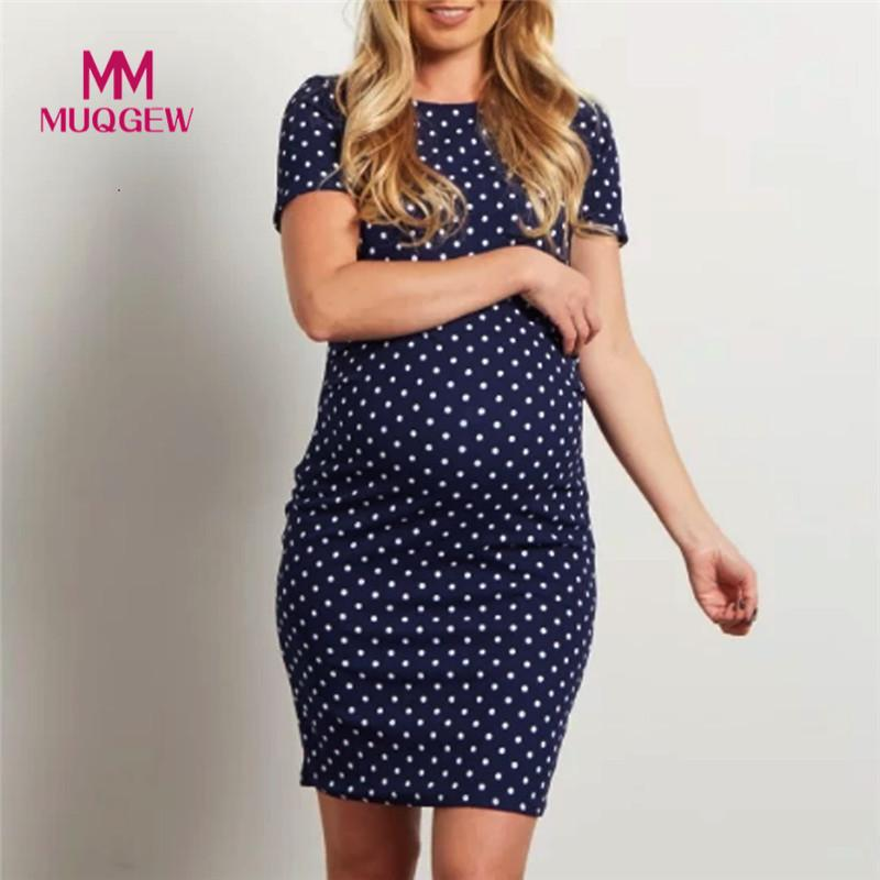 Pregnant Woman Dress Summer Wave Short Sleeve Multi-function Maternity Dress Fashion Pregnant Dress Maternity Clothes fashion