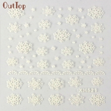 Beauty Gril 1PC Fashion Christmas 3D Nail Art Stickers Decals Decoration Snowflake Design Sep 12