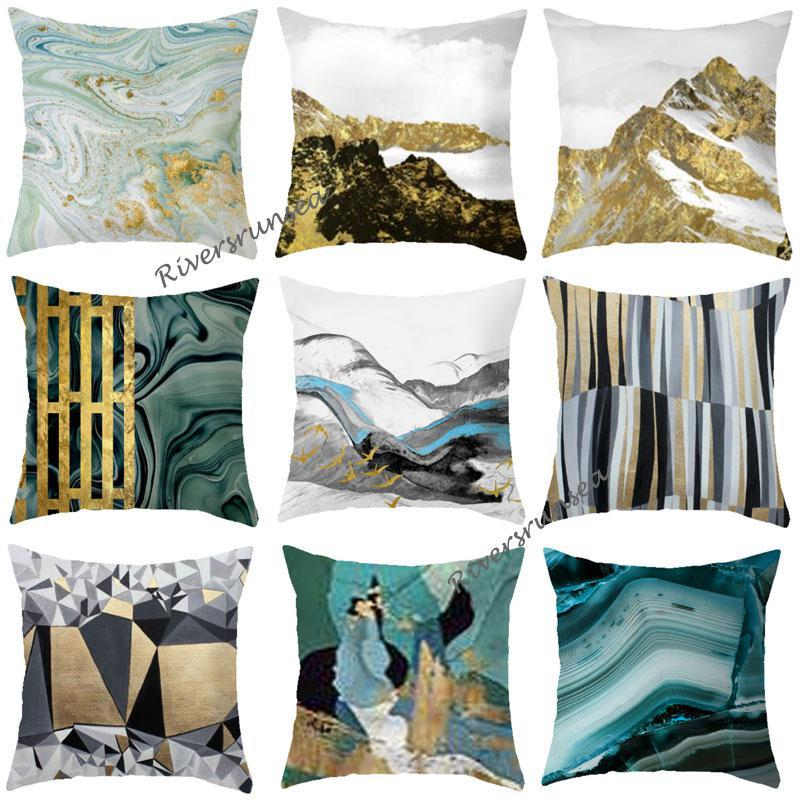 Nordic Home Decoration Landscape Cushion Scenery Mountain Moonlight Feather Abstract Geometric Sofa Throw Pillows For Sofa Car