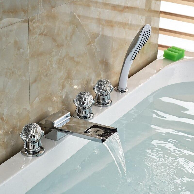 5PCS Brass Chrome Bathroom Waterfall 3 Handles Widespread Bathtub Faucet Handshower Include