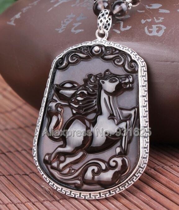 925 argent naturel glace obsidienne sculpté à la main chinois zodiaque cheval amulette pendentif chanceux + perles collier mode charme bijoux