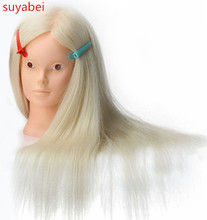 About 60cm hair length 85% natural women mannequin head with wig doll heads