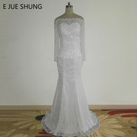 E JUE SHUNG White Lace Mermaid Wedding Dresses Off The Shoulder Long Sleeves Wedding Gowns Robe