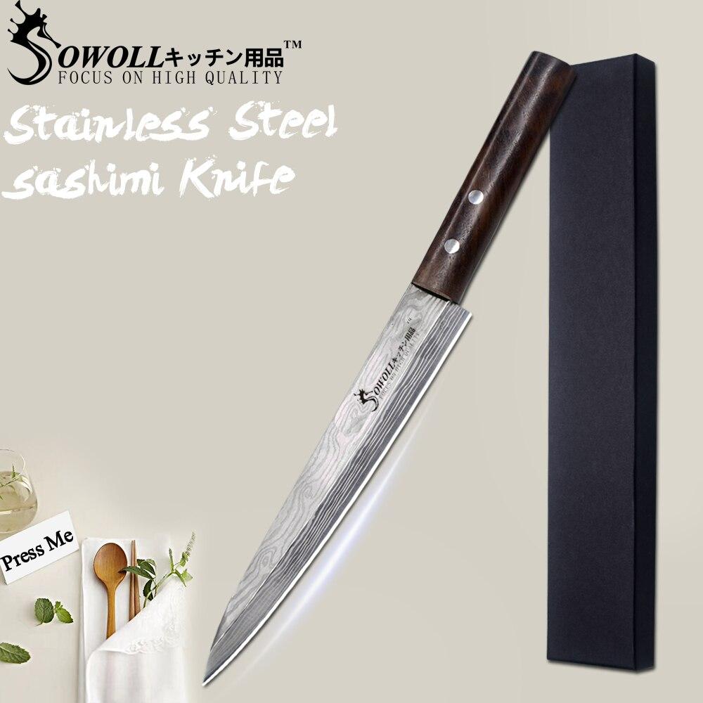 SOWOLL Stainless Steel Sashimi Kitchen Knife Laser Damascus Chef Knife Japanese Salmon Sushi Petty Raw Fish