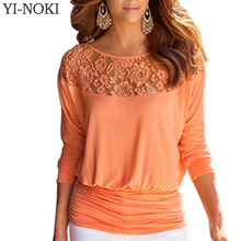 Women Clothing Lace Fashion Casual Long Sleeve Folding Tops