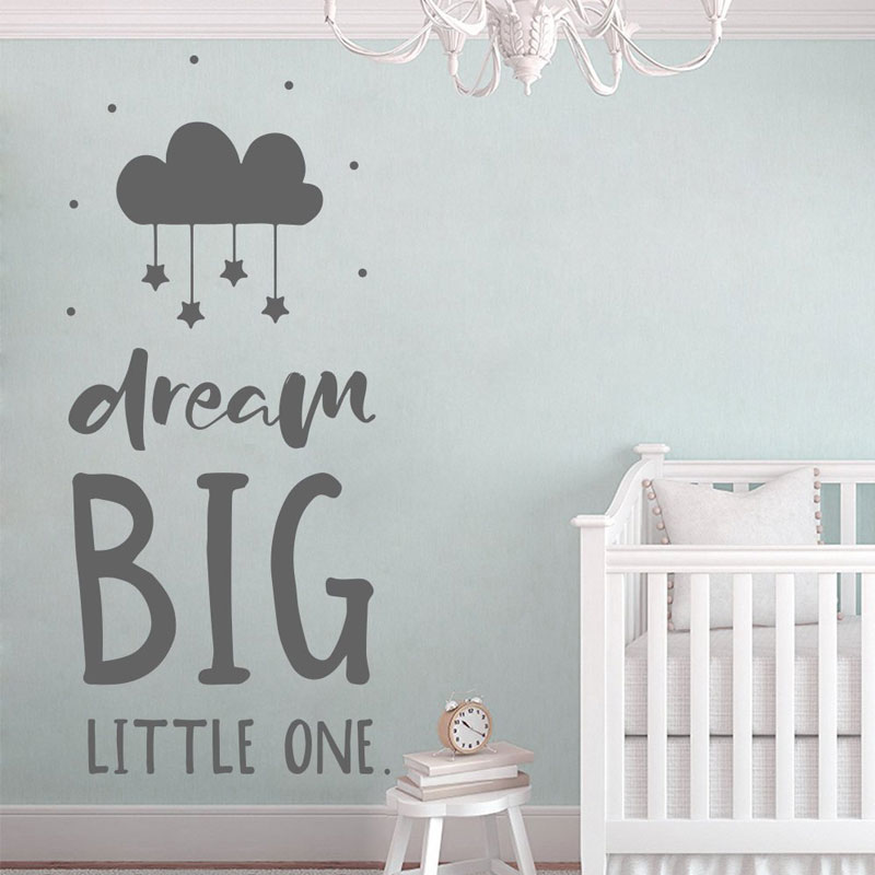 US $5.55 25% OFF|Dream Big Wall Decal Quote, Nursery Wall Vinyl Sticker,  Scandinavian Decoration For Kids Baby\'s Bedroom DIY Murals BO27-in Wall ...