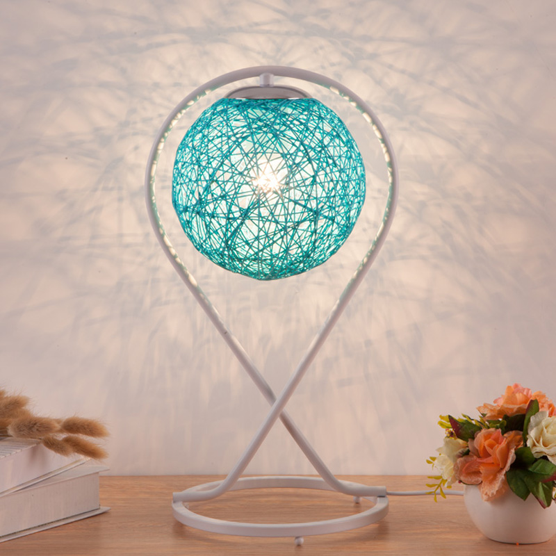 Desk lamp simple creative hemp ball bedroom bedside fashion romantic gift art living room decoration CL1 FG332 lo1024 tuda glass shell table lamps creative fashion simple desk lamp hotel room living room study bedroom bedside lamp indoor lighting