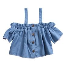 Pudcoco Kid T-Shirts Dress Little Kids Baby Girls Casual Denim T Shirt Dress Summer Off-shoulder Blouse Tops 0-4Y