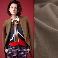 140CM Wide 320G/M Weight Coffee Color Thin Wool Polyester Fabric for Spring and Autumn Dress Shirt Jacket Suit DE494