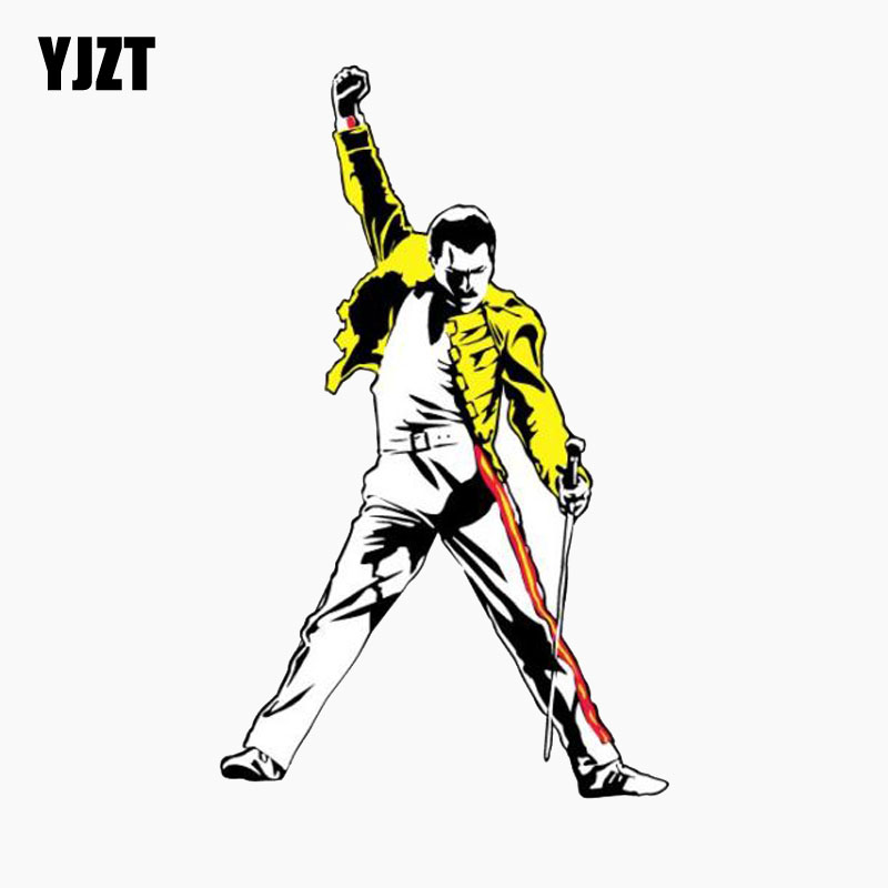 YJZT 9.3CM*15.2CM Car Sticker Amusing Queen Freddie Mercury Music Reflective The Tail Of The Car Decal C1-7764