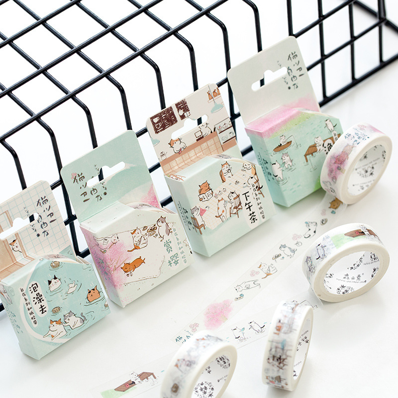 4 pcs Daily life Cute cat paper washi tape set Decorative adhesive tape masking tapes 15mm*7m Scrapbooking School supplies A6748