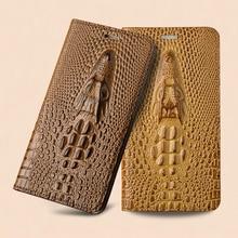 כיסוי עבור ZTE האקסון 7 A2017/האקסון 7 מיני/AXON7 מקסימום C2017 טלפון מרקם תנין עור אמיתי למעלה Flip Case המגנטי 3D תיק