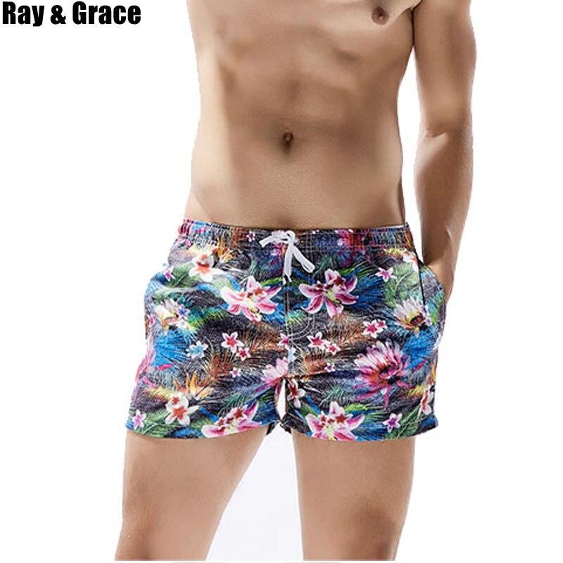 RAY GRACE Quick Drying Beach   Shorts   Printed Sports   Shorts   Mens Swimwear Bermuda Surf Swimming   Board     Shorts   Summer Beachwear