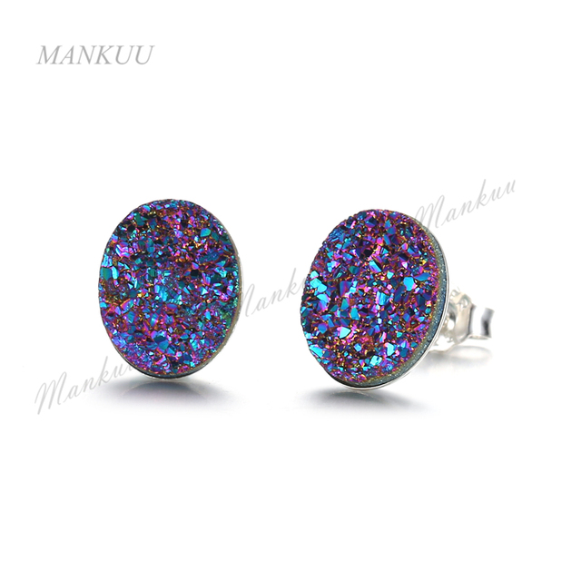 Agates Druzy Earrings With S925 Post Pin Hot Product Oval Shape 3 Color Anium Stud