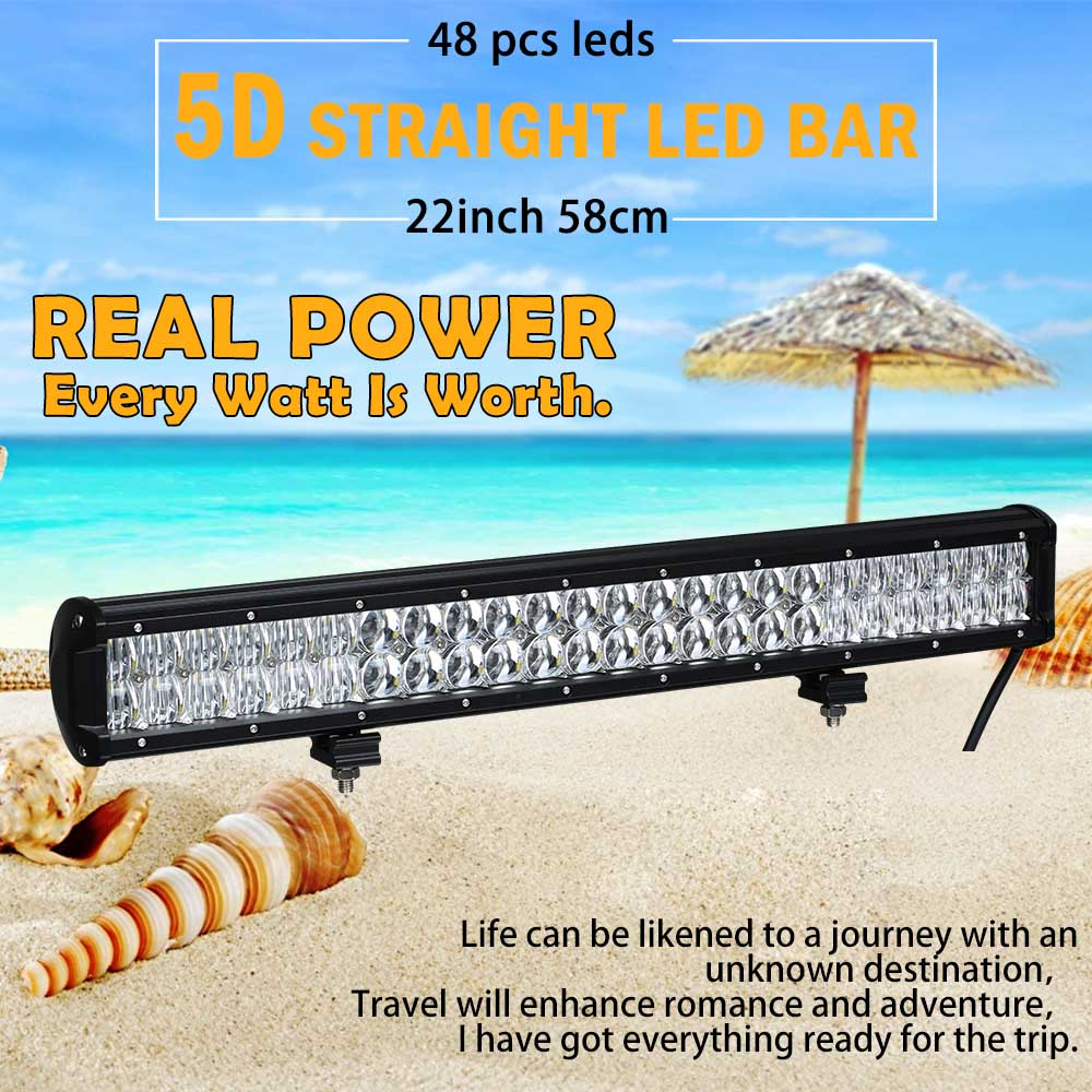 Реальная мощность 5D 22 дюймов 58 см светодио дный светодиодный светодио дный бар светодиодный рабочий свет светодио дный светодиодный свет б...