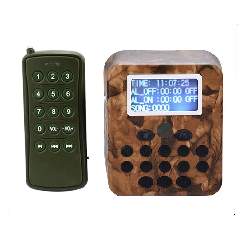 Long Range MP3 Player Camouflage Color For Outdoor 300-500m Remote Control & 50W Speaker Reach 2km & 210 Bird Songs Included