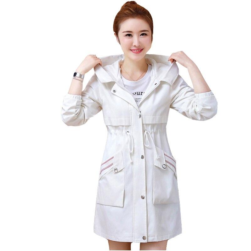 2019 Casual Medium length   Trench   Coats Hooded Women's Spring-Autumn Plus Size Zip Pocket Windbreaker Women's Coat