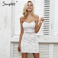 Simplee Sexy Padded Strap Dress Women Hollow Out Floral Sleeveless Elegant Winter Dress 2017 Autumn Dress