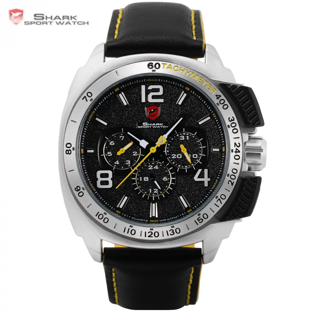 Tiger Shark Sport Watch New Date 24Hrs Silver Bezel Black Yellow Leather Strap Male Clock Military