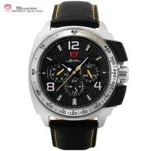 Tiburón tigre Deporte Nuevo Reloj Fecha 24Hrs Plata Bisel Negro Amarillo Correa de Cuero Hombre Reloj Militar Cuarzo de Los Hombres Reloj de Pulsera/SH415