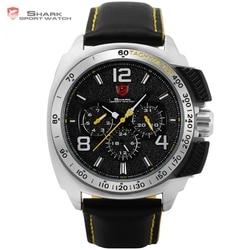 Tiger Shark Sport Watch New Date 24Hrs Silver Bezel Black Yellow Leather Strap Male Clock Military Quartz Men Wristwatch /SH415