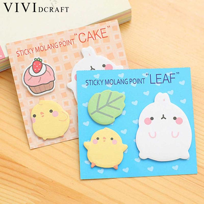 Vividcraft 2 Pcs/lot Kawaii Potato Rabbit Sticky Notes Post Stickers Planner Office Supplies Notepad Memo Pad Bookmarker
